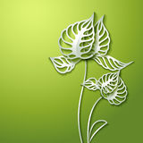 Abstract 3D Paper Flowers. Abstract green background with 3D Paper Flowers royalty free illustration