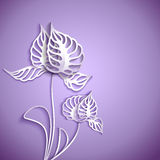 Abstract 3D Paper Flowers. Abstract purple background with 3D Paper Gray Flowers Stock Photography