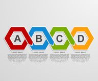 Abstract 3D paper hexagon infographics or timeline template. Vector illustration EPS 10 Royalty Free Stock Photo
