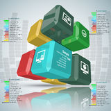 Abstract 3D Paper Infographics. Vector abstract 3d paper infographic cube elements royalty free illustration