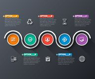 Abstract 3D Paper Infographics. Vector abstract 3d paper infographic elements.Circular infographics.Dark design Stock Illustration