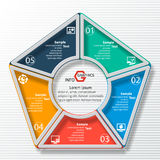 Abstract 3D Paper Infographics. Vector abstract 3d paper infographic elements.Circular infographics.Pentagon Stock Image