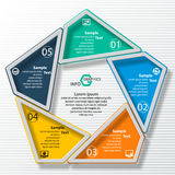 Abstract 3D Paper Infographics. Vector abstract 3d paper infographic elements.Circular infographics.5 Steps Stock Images