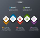 Abstract 3D Paper Infographics. Vector abstract 3d paper infographic elements.Dark design.Business infographics Stock Illustration