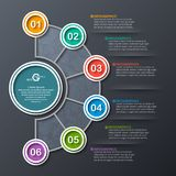 Abstract 3D Paper Infographics. Vector abstract 3d paper infographic elements.Dark design.Business infographics Royalty Free Stock Photo