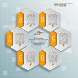 Abstract 3D Paper Infographics. Vector abstract 3d paper infographic elements.Hexagon infographics.Honeycomb design stock illustration