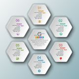 Abstract 3D Paper Infographics. Vector abstract 3d paper infographic elements.Hexagon infographics.Honeycomb design Royalty Free Stock Photography