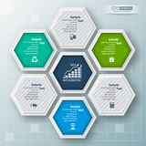 Abstract 3D Paper Infographics. Vector abstract 3d paper infographic elements.Hexagon infographics.Honeycomb design Stock Photography