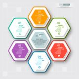 Abstract 3D Paper Infographics. Vector abstract 3d paper infographic elements.Hexagon infographics.Honeycomb design Royalty Free Stock Images