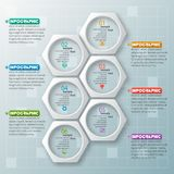 Abstract 3D Paper Infographics. Vector abstract 3d paper infographic elements.Hexagon infographics.Honeycomb design Royalty Free Stock Photo