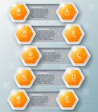 Abstract 3D Paper Infographics. Vector abstract 3d paper infographic elements.Hexagon infographics.Honeycomb design Stock Photo