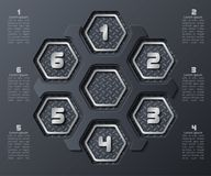 Abstract 3D Paper Infographics. Vector abstract 3d paper infographic elements.Hexagon infographics.Honeycomb design.Dark infographics royalty free illustration