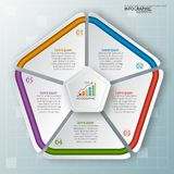 Abstract 3D Paper Infographics. Vector abstract 3d paper infographic elements.Pentagon infographics Stock Image