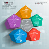 Abstract 3D Paper Infographics. Vector abstract 3d paper infographic elements.Pentagon infographics Stock Photo