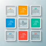 Abstract 3D Paper Infographics. Vector abstract 3d paper infographic elements.Square infographics vector illustration