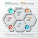 Abstract 3D Paper Infographics. Vector abstract 3d paper infographic hexagon elements stock illustration