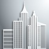Abstract 3D Paper  White Skyscrapers Royalty Free Stock Photo