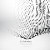 Abstract 3d particle wave mesh in cyber technology style. Vector Stock Photo