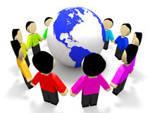 Abstract 3D people around globe. Friendship. Stock Images
