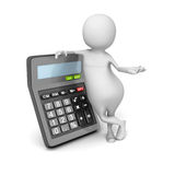 Abstract 3d Person With Calculator Royalty Free Stock Images