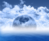 Abstract 3d planet scene. 3D render of a fictional planet against an ocean scene Royalty Free Stock Images