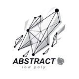 Abstract 3d polygonal wireframe object, vector geometric low pol. Y design element. Technology corporate logo vector illustration