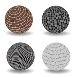 Abstract 3d spheres set. Abstract 3d realistic spheres set. Vector illustration of geometric primitives collection. Decoration elements for design. Orange royalty free illustration