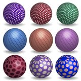 Abstract 3d spheres set. Abstract 3d realistic spheres set. Vector illustration of geometric primitives collection. Decoration elements for design. shapes royalty free illustration