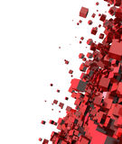 Abstract 3d red cubes. Abstract 3d illustration of red cubes forming together on white background with copy space Stock Image