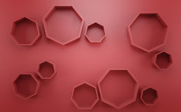 Abstract 3d red geometric background. White texture with shadow. 3D render Royalty Free Stock Images
