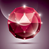 Abstract 3D red shiny sphere with sparkles, ruby glossy orb Royalty Free Stock Images