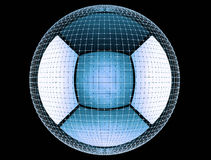Abstract 3d rednering global connect network. Large sphere inside a circular mesh or network of connected points. 3d rendering background, illustration for print Stock Images