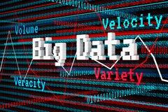 Abstract 3d Render Big Data, Volume, Velocity, Variety, Veracity Royalty Free Stock Photo