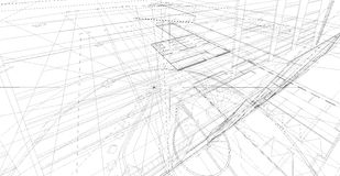 Abstract 3D render of building wireframe structure. Stock Photo