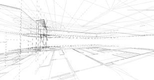 Abstract 3D render of building wireframe structure. Royalty Free Stock Images