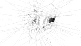 Abstract 3D render of building wireframe structure. Royalty Free Stock Photos
