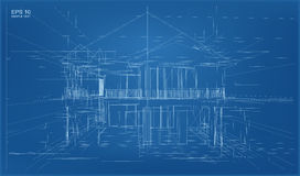 Abstract 3D render of building wireframe structure. Stock Images