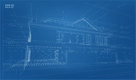 Abstract 3D render of building wireframe structure. Stock Photos