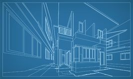 Abstract 3D rendering of building wireframe structure. Vector. Abstract 3D render of building wireframe structure. Vector construction graphic idea stock illustration