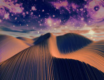 Abstract 3D render with dunes and starry sky. Royalty Free Stock Photo