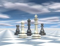 Abstract 3d render illustration with chess set, blue background with cloudy sky. Abstract 3d render illustration with chess set, blue background with cloudy sky Royalty Free Stock Photo