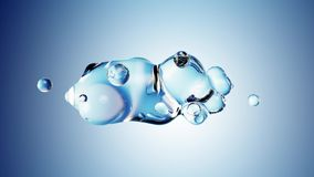 Abstract 3D render illustration - deformed figure made of water on blue background vector illustration