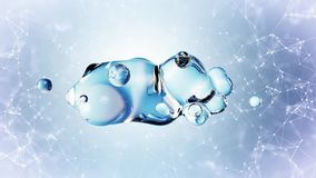 Abstract 3D render illustration - deformed figure made of water on plexus background royalty free illustration