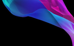 Abstract 3D Render Illustration. Flying Silk Fabric Wave, Waving. Satin. Blue and Pink Color on Black Background Stock Photography