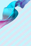 Abstract 3D Render Illustration. Flying Silk Fabric Wave, Waving. Satin. Blue and Pink Color and Striped Background Royalty Free Stock Image