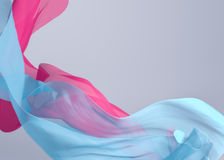 Abstract 3D Render Illustration. Flying Silk Fabric Wave, Waving. Satin. Blue and Pink Color and White Background Stock Photos