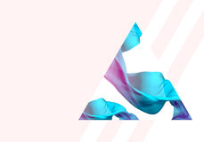 Abstract 3D Render Illustration. Flying Silk Fabric Wave, Waving. Satin. Blue, Pink and Pastel Beige Colors Royalty Free Stock Photo