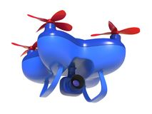 Abstract 3D render illustration of toy drone. With video and photo camera isolated on white background royalty free illustration