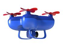 Abstract 3D render illustration of toy drone. With video and photo camera isolated on white background vector illustration