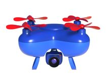 Abstract 3D render illustration of toy quadcopter drone. With video and photo camera isolated on white background vector illustration